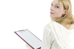 Young woman with red blank clipboard Stock Photo