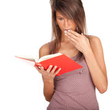 Young woman with red book Stock Images