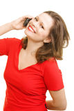 Young woman in red calling Royalty Free Stock Images