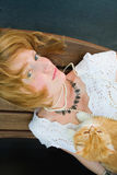 Young woman with red cat Royalty Free Stock Photos