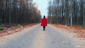 Young woman in red coat walking alone along empty road in autumn forest. Back view. Travel, freedom, nature concept