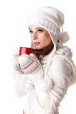 Young woman with red cup. Stock Photo