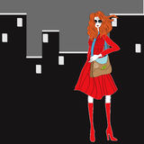 Young woman in red dress. Colorful illustration Royalty Free Stock Images
