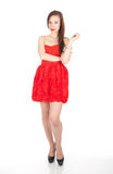 Young woman in red dress Stock Photos