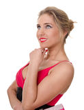 Young woman in a red dress Royalty Free Stock Photography