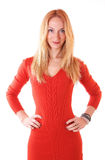 Young woman in red dress Stock Images