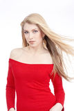 Young woman in red dress Royalty Free Stock Photography