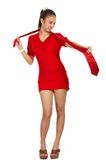 Young woman in red dress. Gorgoeus young woman in shape - wearing a red dress with necktie Stock Images