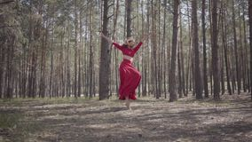 Graceful young woman in red dress dancing in the forest. Beautiful dancer showing classic ballet poses. Concept of stock video