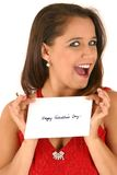 Young Woman In Red Dress Holding Envelope Stock Photos