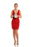 Young WOman in Red Dress Holding Gift Box Stock Photos