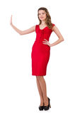 Young woman in red dress isolated on white Royalty Free Stock Image