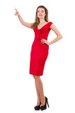 The young woman in red dress isolated on white Royalty Free Stock Images