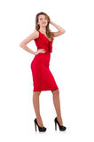 The young woman in red dress isolated on white Royalty Free Stock Photos