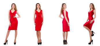 The young woman in red dress isolated on white Stock Image