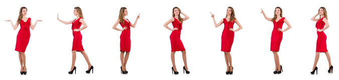 The young woman in red dress isolated on white Stock Photos