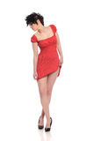 Young woman with red dress Stock Photography
