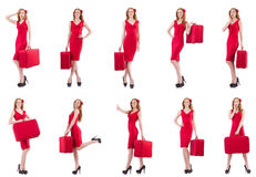 The young woman in red dress with suitcase isolated on white Stock Image