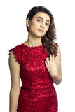 Young woman with a red dress Stock Image