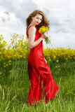 Young  woman in red dress in yellow field Royalty Free Stock Images