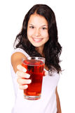 Young woman with red drink. Young woman with red cranberry juice isolated on white background Stock Image