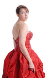 Young woman in red evening dress Royalty Free Stock Photo