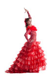 Young woman in red flamenco costume isolated Royalty Free Stock Images