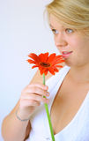 Young Woman with Red Flower. A young woman with a bright red flower, photographed in a studio setting Royalty Free Stock Images