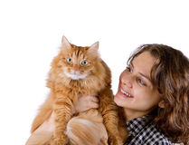 Young woman with red fluffy cat Stock Images