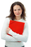 Young woman with red folder Royalty Free Stock Photography