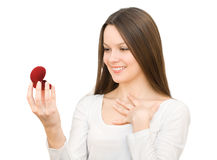 Young woman with red gift box with jewellery Stock Photos