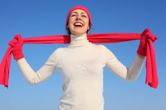 Young woman in red gloves and scarf Royalty Free Stock Photo