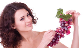 Young woman with red grape Royalty Free Stock Photo