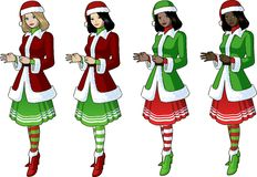 Young woman in red and green Christmas costume 4 Stock Images