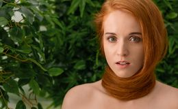 Young woman with red hair around neck as scarf. Young girl with natural red hair around her neck as scarf, green plants background, panorama with copy space stock image