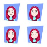 Young Woman With Red Hair Different Facial Emotions Set Of Girl Face Expressions Royalty Free Stock Photography