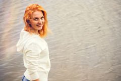Young Woman with red hair happy smiling stock images