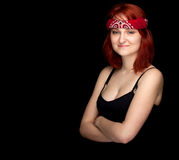 Young woman in red headscarf Stock Images