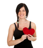 Young woman and red heart Stock Photo