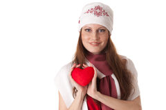 Young woman with red heart in hands Stock Image