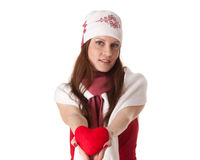 Young woman with red heart in hands Stock Photography