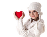 Young woman with red heart in hands Royalty Free Stock Photography