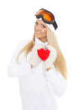 Young woman with red heart in hands Stock Photos