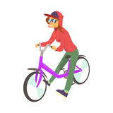 Young woman in red hoodie enjoying cycling, sport lifestyle, riding, relax cartoon vector Illustration. On a white background Stock Images