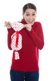 Young woman in red isolated with a present for valentine or chri Royalty Free Stock Photography