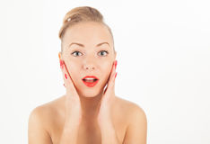 Young woman with red lips and manicure Royalty Free Stock Images