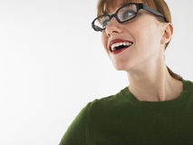 Young Woman With Red Lips Wearing Glasses Stock Photos