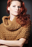 Young  woman with red long hair. Stock Image