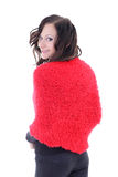Young woman in red poncho Royalty Free Stock Photos