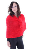 Young woman in red poncho Royalty Free Stock Images